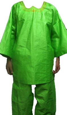 c65eb89e778 Africa 155241  African Brocade Suit Men Grand Boubou Handmade Cotton Pant  Suit Parrot Green 1Sz -  BUY IT NOW ONLY   84.95 on eBay!