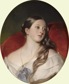 Queen Victoria (1843). Franz Xaver Winterhalter (German, 1805-1873). Oil on canvas. Royal Collection. Here a young Queen Victoria is seen in an intimate and alluring pose, leaning against a red...
