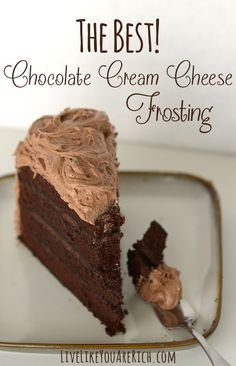 The Best Chocolate Cream Cheese Frosting! Great on cake, cupcakes, cookies, and brownies. #LiveLikeYouAreRich