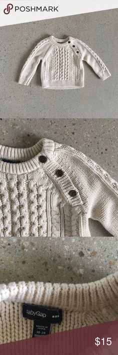 GAP Cable Knit Sweater Classic cream colored cotton cable knit sweater from GAP. Soft chunky knit. So cozy ❤️ GAP Shirts & Tops Sweaters