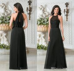 2016 Simple Cheap Mother of the Bride Dresses Jewel Neck Illusion Black Chiffon Plus Size Long Floor Length Party Dress Wedding Guest Gowns Online with $92.47/Piece on Haiyan4419's Store | DHgate.com