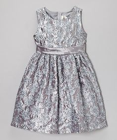 Take a look at this Silver Floral Soutache Dress - Toddler on zulily today!