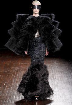 Alexander McQueen Fall 2012 Ostrich Feather Hem Mermaid Gown
