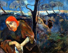 """Christ in the Garden of Olives, Gauguin, 1889. Note the red hair of the Christ / Gauguin self-portrait hybrid, the colour of which has been described as """"supernaturally red"""", and as with the jug object directly evokes van Gogh."""