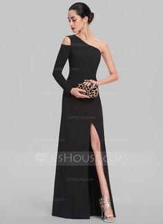 Sheath/Column One-Shoulder Sweep Train Zipper Up at Side Regular Straps Long Sleeves No Black Spring Summer Fall General Plus Satin Height:5.8ft Bust:32.7in Waist:22.8in Hips:34.6in US 2 / UK 6 / EU 32 Evening Dress