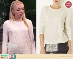 Emma's white lace front sweater on Jessie.  Outfit Details: http://wornontv.net/37284/ #Jessie