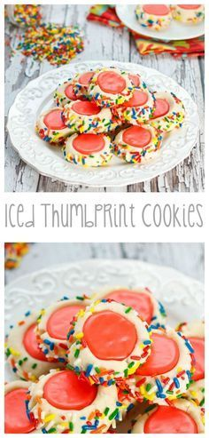 Iced Thumbprint Cookies...Tender, buttery sugar #cookies rolled in colorful sprinkles and filled with icing!