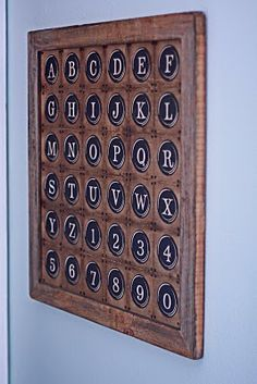 diy...potterybarn typewriter key wall art...including free download of letters and numbers