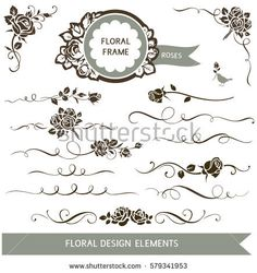 Decorative design elements for wedding invitation anniversary set of floral calligraphic design elements decorative rose silhouette and wedding invitation calligraphy design elements junglespirit Choice Image