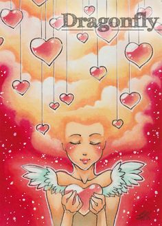 "#54 ""Hearts""  Illustration, Copic Art, Comic, Manga, ACEO Card / Kakao-Karte by Dragonfly Artworks"