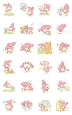 My Melody's adorable pink cap will charm you in her new animated sticker set! These adorable animations will melt everyone's hearts!
