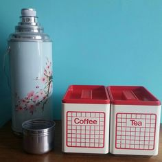 Mid century kitchen tins. Coffee tea storage tins. Stacking 50's/60's red and cream canister set. Ekco. by fatdachshunddesigns on Etsy https://www.etsy.com/listing/266137141/mid-century-kitchen-tins-coffee-tea