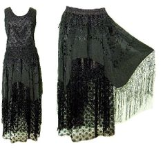 """Shawlene"" Black Gothic Lace Top and Skirt"