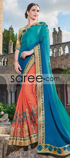 80845b5ab45 Blue and Orange Georgette Saree with Embroidery Work
