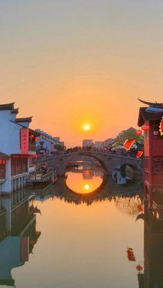 Sunset in Qibao, China