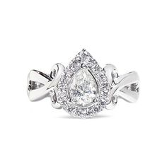 Vera Wang Love Ribbons & Bows - diamond engagement ring ($4,480) ❤ liked on Polyvore featuring jewelry, rings, white, heart ring, bow engagement ring, white diamond ring, diamond engagement rings and pear cut engagement rings