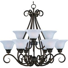 Pacific 9-light Kentucky Bronze Chandelier (Oil Rubbed Bronze) featuring polyvore, home, lighting, ceiling lights, brown, glass shade, oil rubbed bronze lamp, chain light, chain chandelier and 9 light