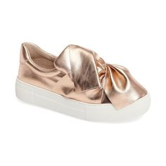 Women's Jslides 'Annabelle' Platform Sneaker ($135) ❤ liked on Polyvore featuring shoes, sneakers, rose gold leather, pull-on sneakers, platform slip on sneakers, leather platform shoes, platform shoes and genuine leather shoes