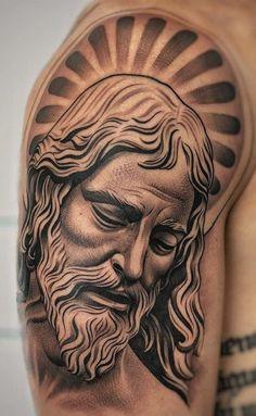 Jesus Tattoos - Tons of Jesus Tattoo Designs & Ideas - Tattoo Me Now Jesus Tattoo On Arm, Jesus Tattoo Design, Christ Tattoo, Angel Tattoo Designs, Forearm Tattoo Design, Tattoo Sleeve Designs, Tattoo Designs Men, Dope Tattoos, Arm Tattoos For Guys