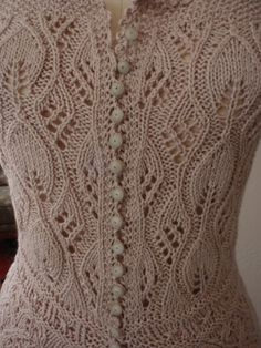 Hand Knit Lace Corset Cover Bodice Antique by HOLLYANNHESS on Etsy Lace Knitting Patterns, Knitting Stitches, Knitting Designs, Knitting Yarn, Baby Knitting, Crochet Picot Edging, Knit Crochet, Knit Lace, Knit Cardigan Pattern