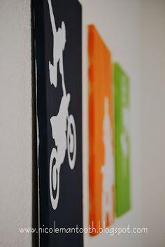DIY Canvas wall art by Random Ramblings Diy Canvas Art, Diy Wall Art, Diy Art, Bike Room, Silhouette Projects, Kid Beds, Kids Decor, So Little Time, Diy For Kids