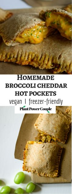 Homemade VEGAN hot pockets with an ooey gooey cheddar-y broccoli filling. Perfect for after school snacks and make-ahead lunches, freezer and kid friendly! // plantpowercouple.com Vegan Hot Pockets, Vegan Lunches, Vegan Foods, Healthy Vegan Snacks, Savory Snacks, Healthy Kids, Vegan Comfort Food, Broccoli Cheddar, Vegan Appetizers