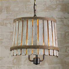 Eco Friendly wood slats and metal wine  barrel bands pendant lamp. [original pin: Wood #recycling idea]