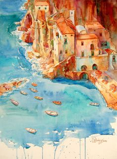 Rich Italian Riviera Palette with Cindy Briggs & Theresa Goseling 2.4.12.  Watercolor by one of my favorite artists, Cindy Briggs!