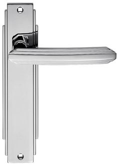 Carlisle Brass Chrome Art Deco Lever on Latch Plate Bright chrome Art Deco lever latch door handle set. Backplate measures 205x45mm. Sold complete with connecting bar and screws. http://www.MightGet.com/january-2017-12/carlisle-brass-chrome-art-deco-lever-on-latch-plate.asp