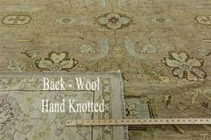 New Hand Knotted Oushak Style 10x14 Peshawar Chobi Quality Beige Wool Rug H9570