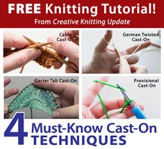 Free Knitting Tutorial from Creative Knitting newsletter:  Knitting Tutorial: Four Must-Know Cast-On Techniques by Tabetha Hedrick. Click on the photo to access the tutorial. Sign up for this free newsletter here: www.AnniesNewsletters.com.
