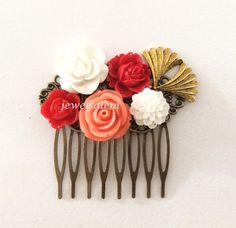 Coral Red Gold Hair Comb Wedding Hair Accessories Flower Bridal Headpiece Floral Bridesmaid Hair Pin Quaint Chintz Bohemian Vintage Style