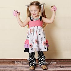 wholesale children clothes boutique design ruffle kids clothing sets for girl