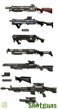 http://xboxoz360.files.wordpress.com/2009/11/borderlands-oxcgn-121.jpg&width=550 #Shotguns (And an assault rifle and a revolver, I guess) from #Borderlands1. Not #Borderlands2. The artstyles are totally different. But soooo much better in Borderlands 2.