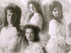 Grand Duchess Anastasia Nikolaievna Romanov, (bottom) Grand Duchess Olga Nikolaievna Romanov, (top) Grand Duchess Tatiana Nikolaievna Romanov, and Grand Duchess Maria Nikolaievna Romanov
