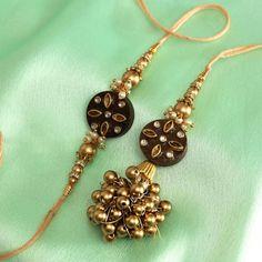 Dazzling Kundan and Golden Beads Designed Bhaiya Bhabhi Rakhi with Wooden Dials Gift For Raksha Bandhan, Same Day Delivery Gifts, Womens Day Gift Ideas, Handmade Rakhi Designs, Rakhi Making, Rakhi Online, Creative Arts And Crafts, Rakhi Gifts, Diwali Decorations