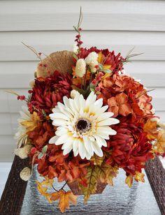 Fall Flower Arrangement, Home Decor, Fall Leaves, Orange Hydrangeas, Cream Flowers, Red Mums, Dried Bracket Mushroom, Tan Crackle Glaze Vase