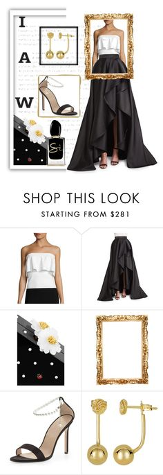 """""""The ball skirt"""" by bijouxinedit ❤ liked on Polyvore featuring Milly, Monique Lhuillier, Charlotte Olympia, Manolo Blahnik and Giorgio Armani"""
