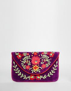Buy Moyna Velvet Envelope Clutch Bag With Embroidery at ASOS. Get the latest trends with ASOS now. Embroidery Purse, Vintage Embroidery, Purple Handbags, Purses And Handbags, Purple Purse, Envelope Clutch, Clutch Bag, Pochette Diy, Best Leather Wallet