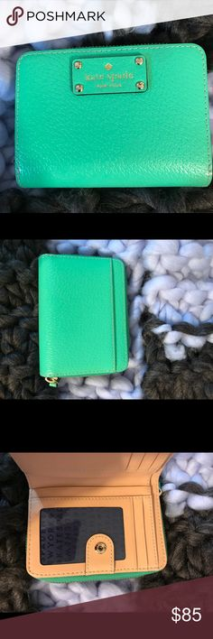 KATE SPADE CARA WELLESLEY WALLET BUD GREEN NWOT ♠️kate spade ♠️ Small Wellesley wallet in bud green color. Perfect condition Green leather - Beige leather on the inside - Snap and zipper closure - Zipper pouch - Lots of compartments - (L) 5 x (H) 4 x (W) 1.5 inches kate spade Bags Wallets