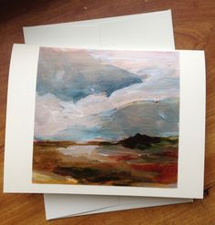 Color 4x4 Photo Detail of Original Hand Painted Acrylic - Stormy Sky Maine - 4x5 Ivory Greeting Card by theRandoMshoE on Etsy