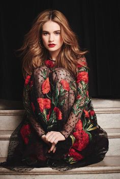 "omggerardocano: ""Lily James in a Dolce & Gabbana dress """