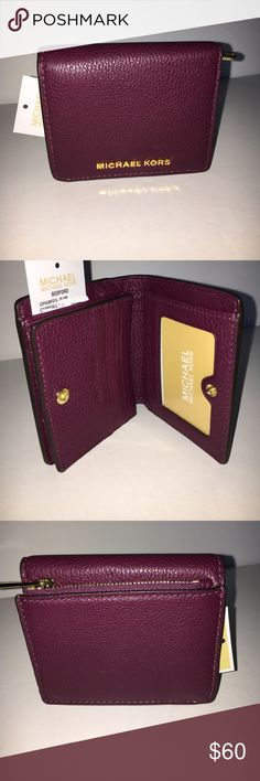 Michael kors pebble leather wallet New! Color: PLUM. Pebble leather. Cute wallet! Willing to consider reasonable offers, but no lowballing. No trades. Michael Kors Bags Wallets