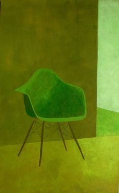 "Régine La Fata (Contemporary French Artist) ""Interior / green"""