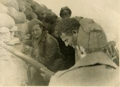 Spanish Civil War International Brigade Volunteers Sam Masters, Ramona and Nat Cohen in the trenches - University of Salford Institutional Repository