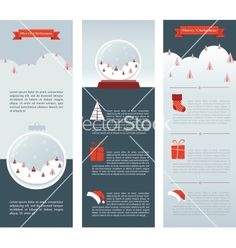 Christmas infographic set of three info cards vector - by LipMic on VectorStock®