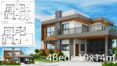 Home design plan with 4 bedrooms.House description:One Car Parking and gardenGround Level: Living room, 1 Bedroom with bathroom, Architect Design House, Bungalow House Design, House Front Design, Architectural Design House Plans, My House Plans, Modern House Plans, House Floor Plans, Modern Bungalow Exterior, Modern Small House Design