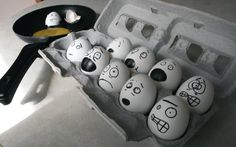 Comical Egg Faces  (what I need to do to the next batch of eggs we buy!)