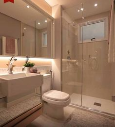 Most Popular Small Bathroom Remodel Ideas on a Budget in 2018 This beautiful look was created with cool colors, and a change of layout. Bathroom Layout, Modern Bathroom Design, Bathroom Interior Design, Small Bathroom, Neutral Bathroom, Bathroom Ceiling Light, Ceiling Lighting, House Rooms, Bathroom Inspiration