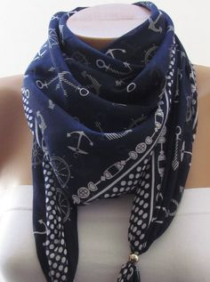 SPRING SCARF. Anchor Scarf. For her. Beach. Sea. Headband. Necklace. For 4 seasons. Dark Blue.